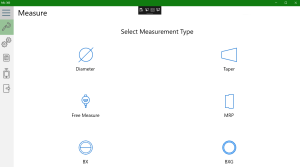 Screen to select a measurement type