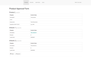Web Application - Approval Form Page