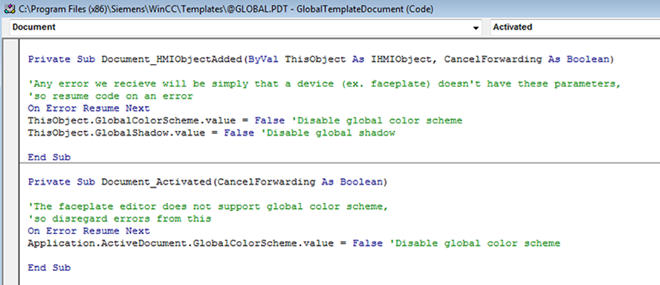 WinCC 7: Disable Global Color Scheme & Global Shadow