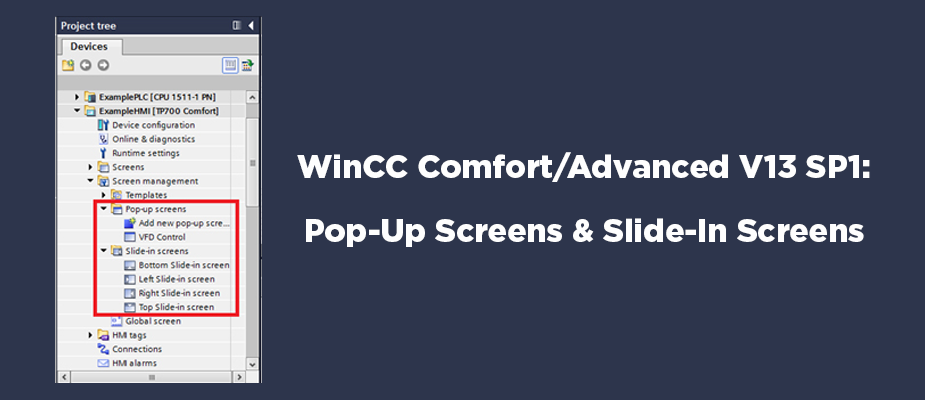WinCC Comfort/Advanced V13 SP1: Pop-Up Screens and Slide-In Screens