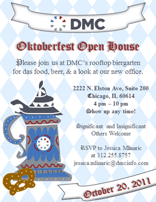 DMC Invites You to an Oktoberfest Open House on October 20th