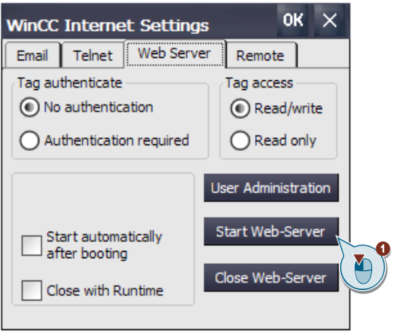 Start web server in WinCC Internet Settings