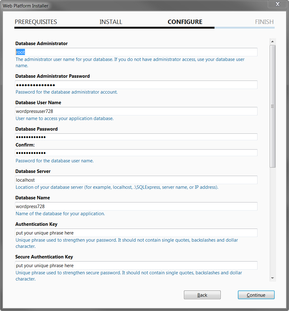 Screenshot of WordPress database and key configurations