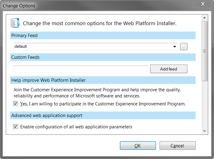 Screenshot of enabling configuration of all web application parameters