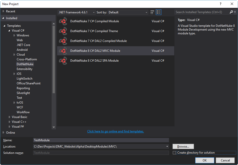 Configuration of the DotNetNuke 8 C# DAL2 MVC Module Visual Studio Project