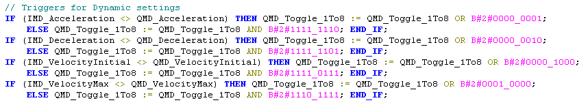 Send commands to motor using Toggle Registers