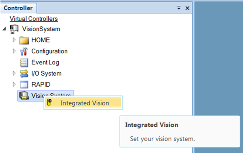 Screenshot of controller menu with Vision System