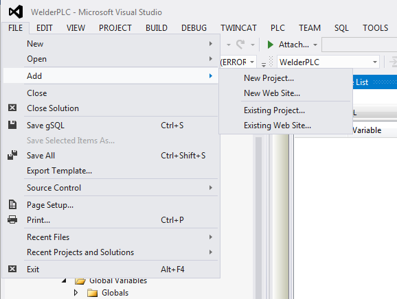 Adding a new project in Visual Studio