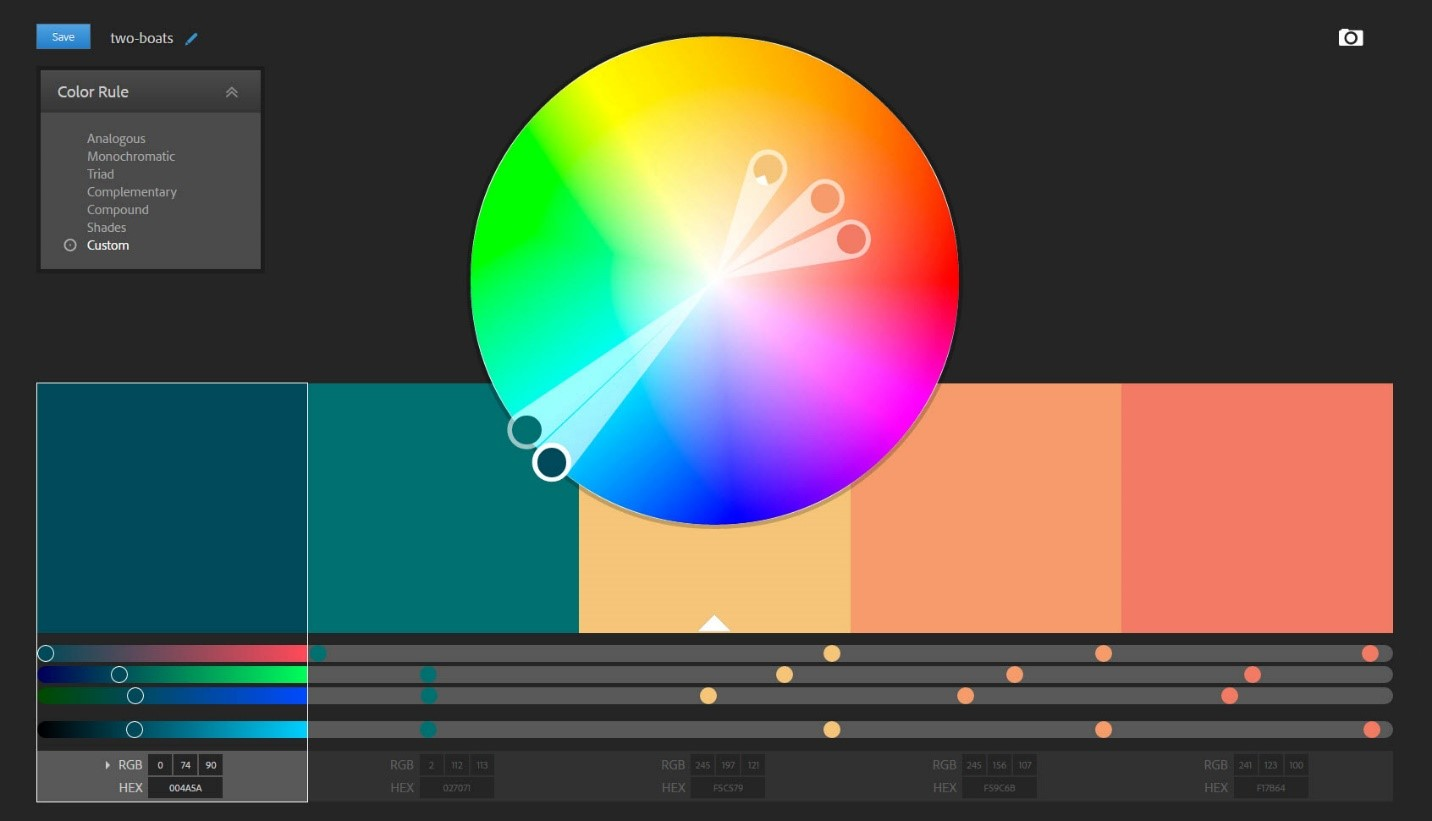 Adobe Color CC Tool for User Interface Design