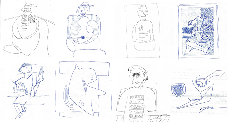 Scanned Picasso style drawings of DMC employees.