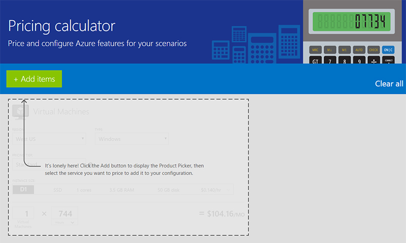 Screenshot of Azure Pricing Calculator - Price and configure Azure features for your scenarios