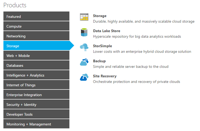 Azure Pricing Products Menu of Storage features and benefits: Storage, Data Lake Store, StorSimple, Backup, Site Recovery