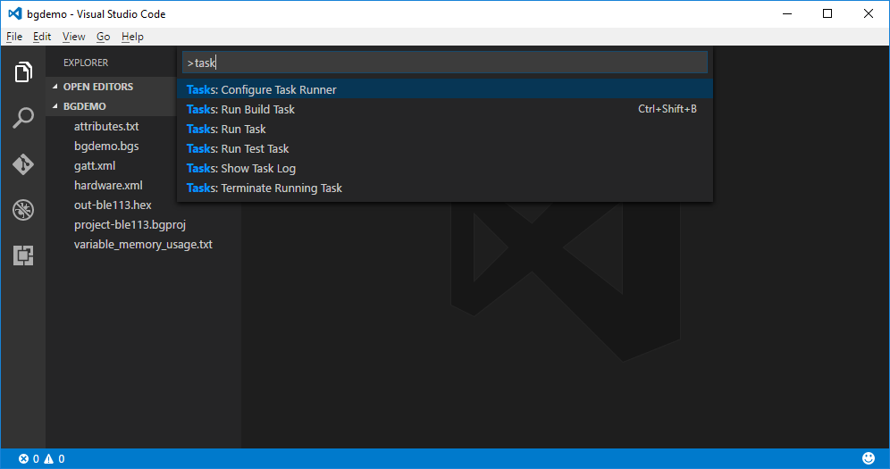 Visual Studio Code Command Palette - selecting Tasks: Configure Task Runner