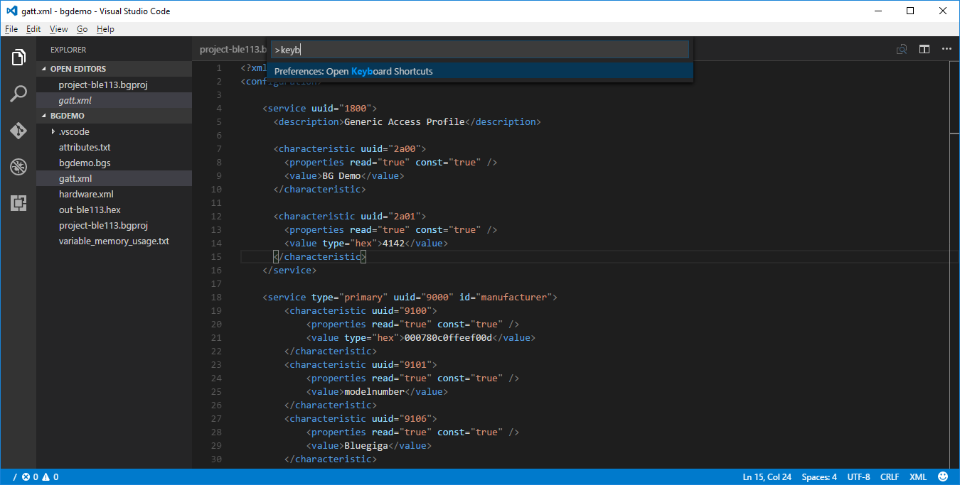 Visual Studio Code Command Palette - selecting open keyboard shortcuts