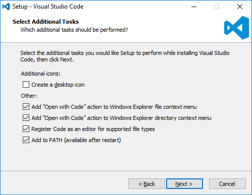 Screenshot of Setup Configuration for Visual Studio Code