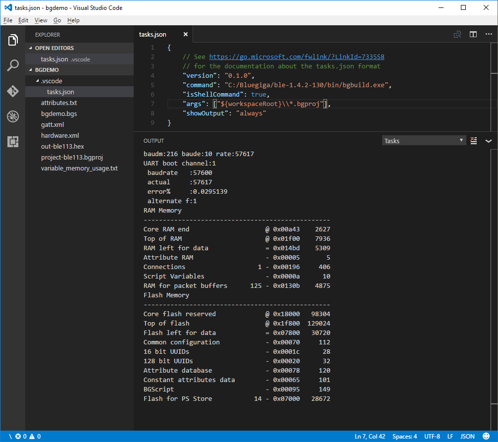 Visual Studio Code bgbuild.exe output