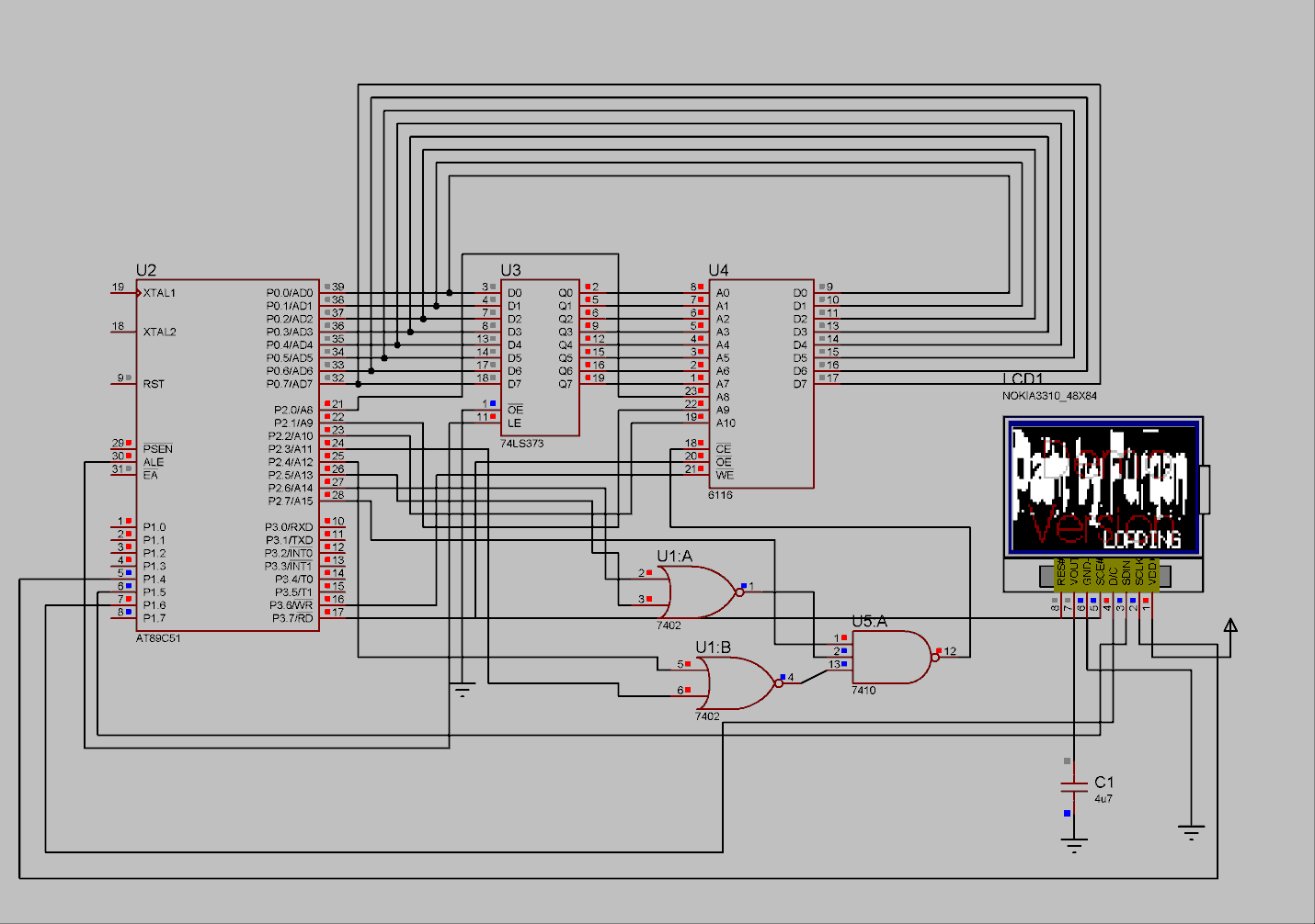 Lcd Paint With Nokia 3310 Screen And 8051 Microcontroller Dmc Inc Proteus Circuit Simulation Note That There Is No Mouse In This Schematic Because I Couldnt Find A Model For
