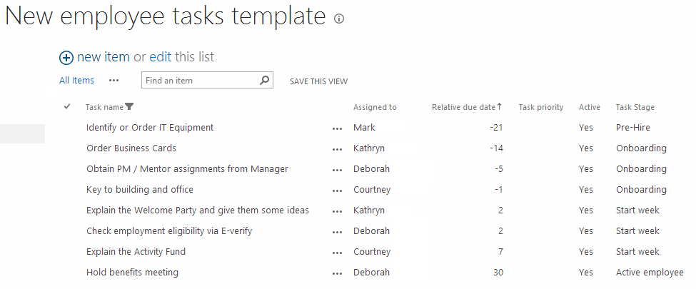 Onboarding employees using sharepoint workflow dmc inc for Sharepoint task list template