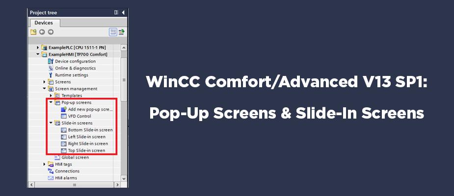 WinCC Comfort/Advanced V13 SP1: Pop-Up Screens and Slide-In Screens