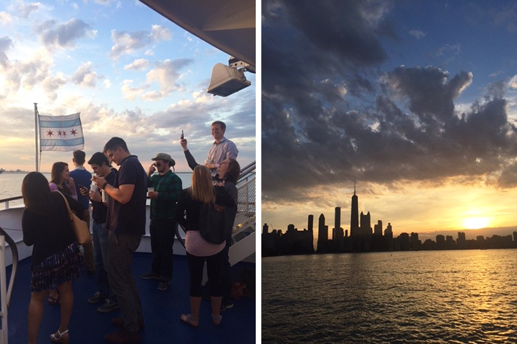 Photo of DMC employees on the Chicago River Architectural Tour and a photo of Chicago from the lake at sunset.