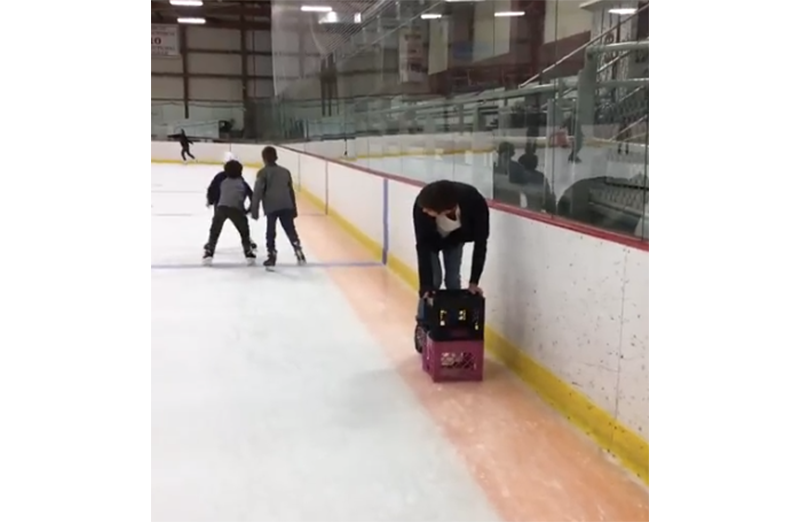 Ice skating with crates