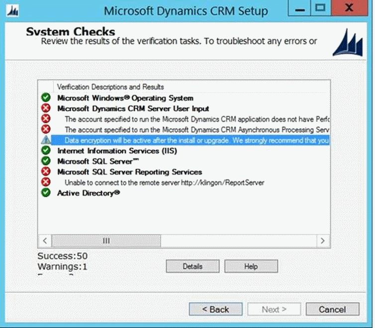 The account specified to run the Microsoft Dynamics CRM...