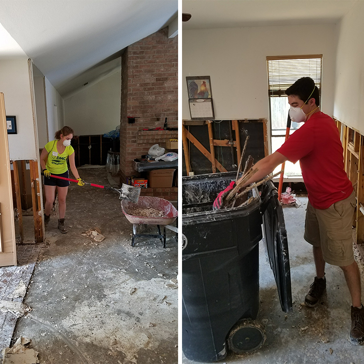 Cecilia and John Michael Frullo clean up after demolition of flood damaged house.