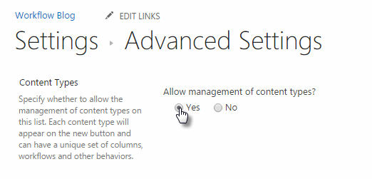 Click Allow Management of Content Types