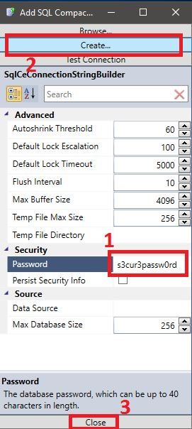 Assign .SDF file password