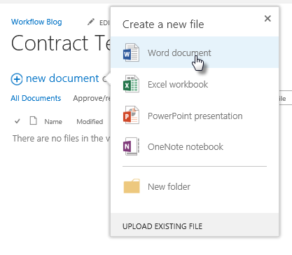 Create Document from Document Library