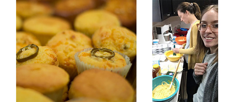 DMC Chicago FedEx Day April 2017 Heather and Molly mix up cornbread muffins, seen finished on the left.