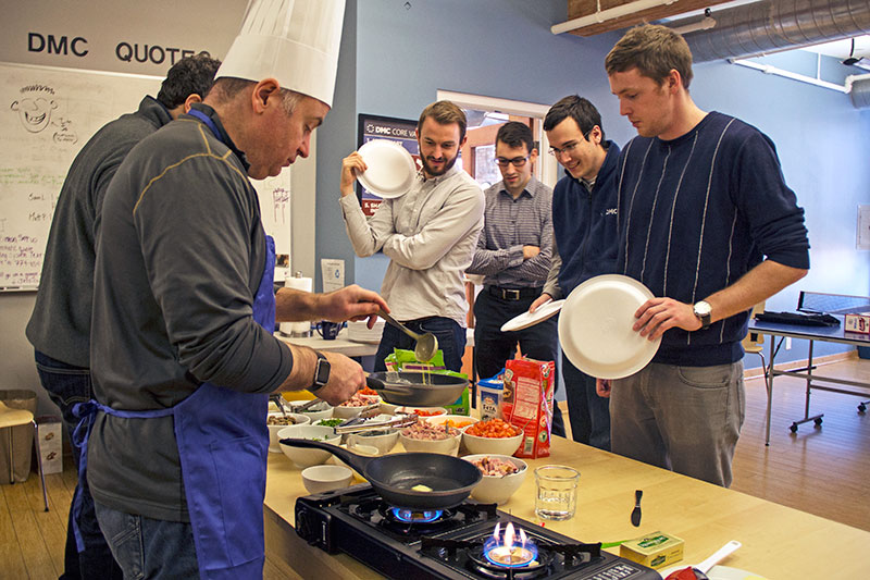 DMC employees cook for each other as part of the Cooking for Colleagues team on FedEx Day
