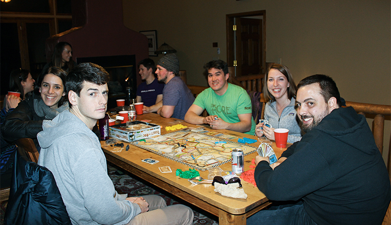 Otto, Emily, Tim Herrmann, Carolyn, Jimmy Condon playing games