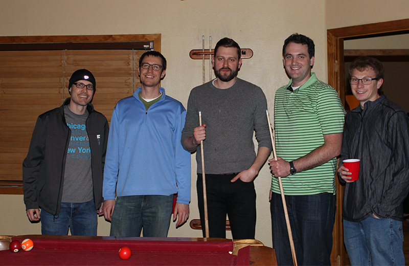 Playing pool - Tim Jager, Jesse, Jon Carson