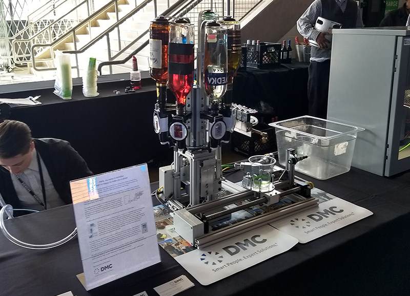 Siemens powered drink bot with bottles.