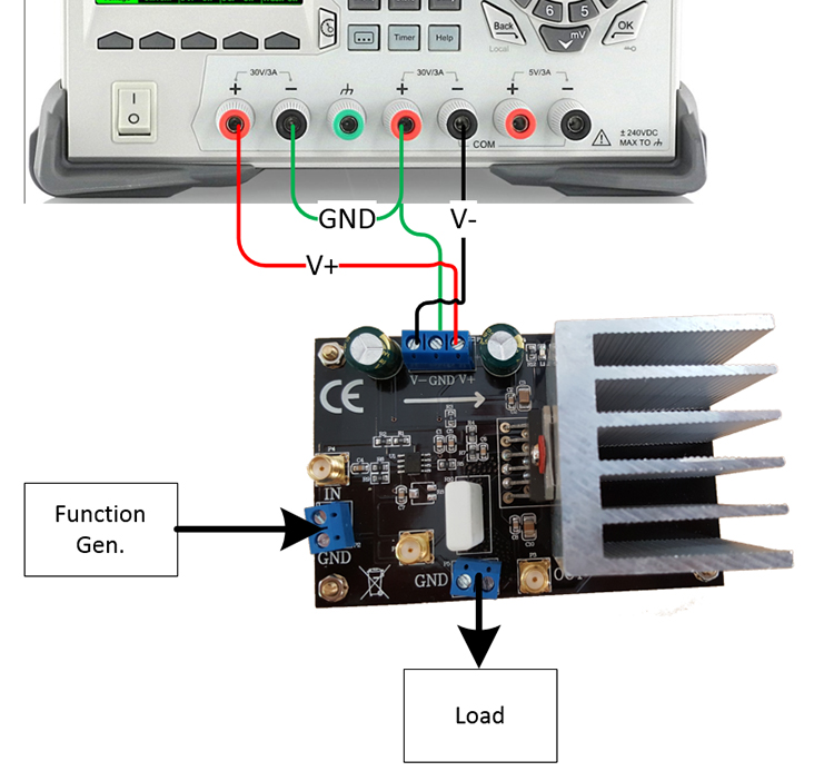 Amplifier connected to Rigol DP832 with configured DP832 providing +/- 30 volts