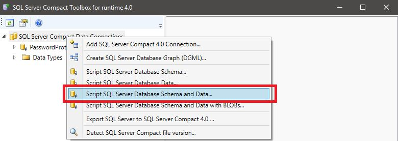 Export SQL database to .SQLCE