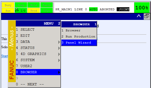 Fanuc Panel Wizard Interface