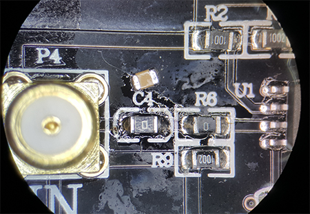 Image of OPA541 with replaced C4 and C5 Ohm resistors to allow for DC current