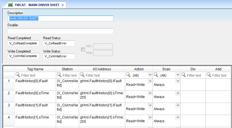 Screenshot of Main Driver Sheet containing tags that exist in the PLC