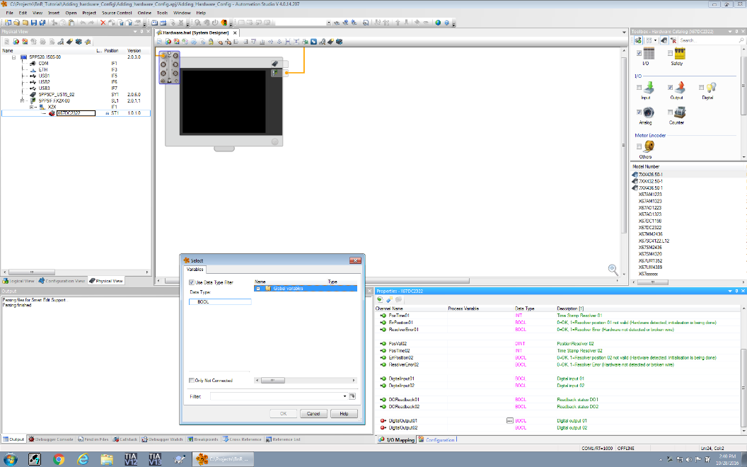 Screenshot of the properties of the I/O module in Physical View in Automation Studio