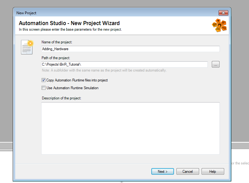 Screenshot of naming a project in Automation Studio New Project Wizard