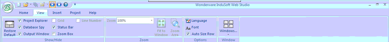 Screenshot of View Window in Wonderware Indosoft Web Studio