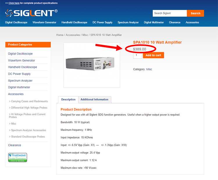 Screenshot of Siglent SPA1010 purchase page