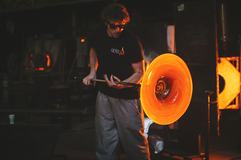 Ignite Glass Studio Chicago glass blowing demonstration