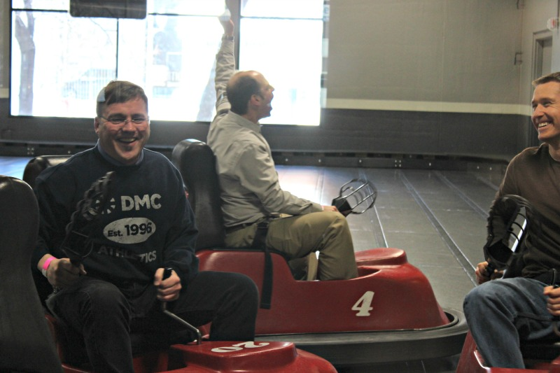 Technical Director Ken Brey cheers in triumph during WhirlyBall.
