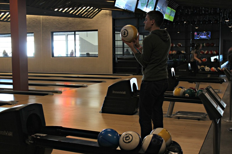 Systems Engineer Simon Healey lines up his bowling ball.