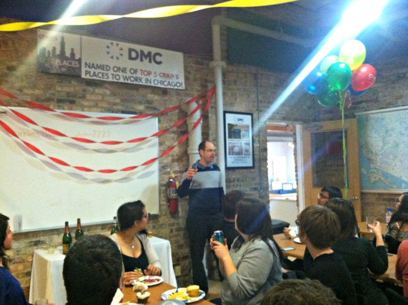 DMC celebrates being name Top Five Places in work in Chicago by Crain's Chicago Business.