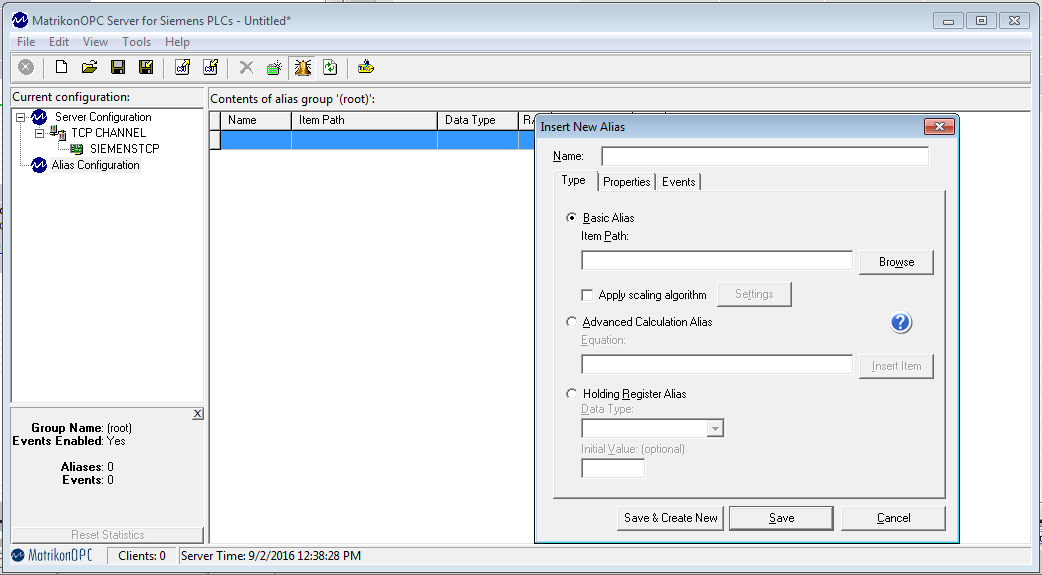 Inserting a new alias in MatrikonOPC Server for Siemens PLCs