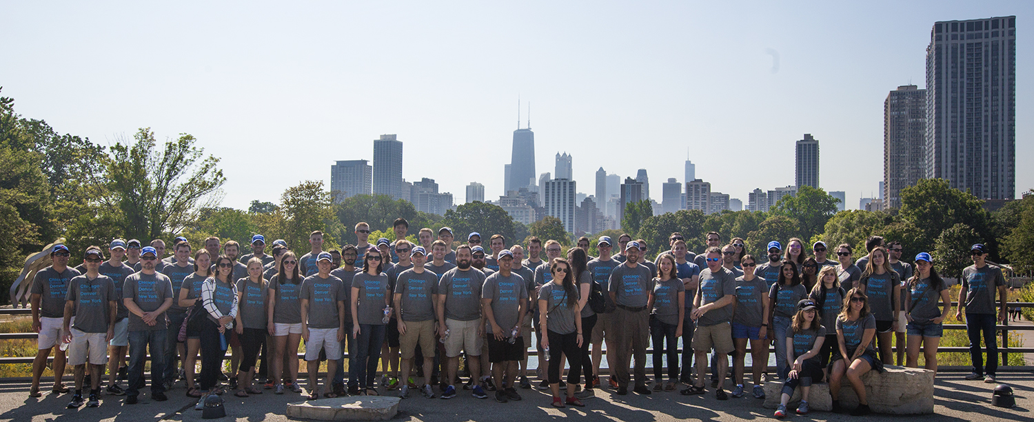 Group photo in front of the Chicago skyline at the Lincoln Park Zoo